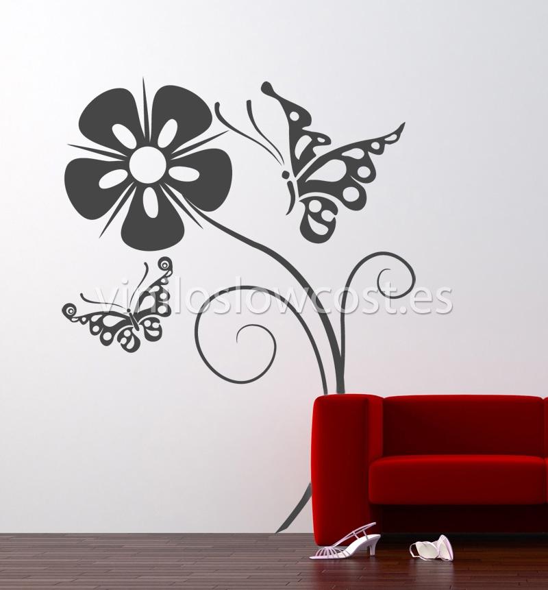 Vinilo floral flor y mariposas